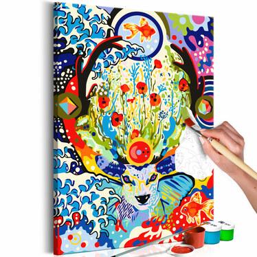 CERF AVEC FLEURS Tableau à peindre soi-même