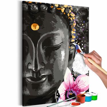 BOUDDHA ET UNE FLEUR Tableau à peindre soi-même