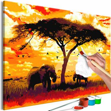 AFRIQUE AU COUCHER DU SOLEIL Tableau à peindre soi-même