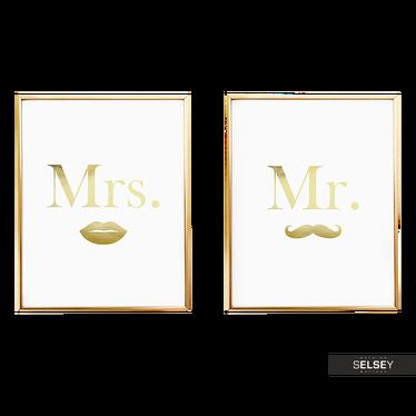 MR MUSTACHE & MRS LIPS Lot de 2 affiches
