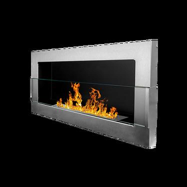 ASTRALIS Cheminée bioéthanol 90x40 cm acier inoxydable
