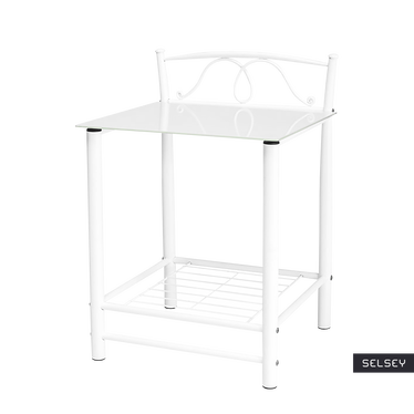 ROXANNE Table de nuit vintage blanche