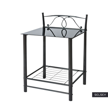 ROXANNE Table de nuit vintage noire