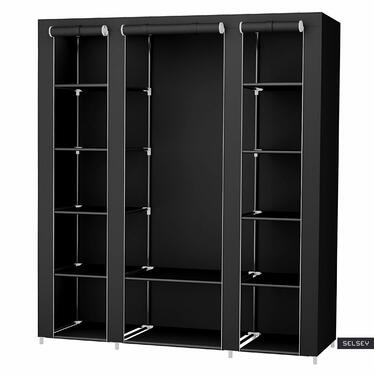 TEXTILE Armoire penderie mobile noire 150 cm