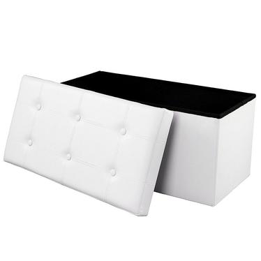ALI Coffre tapissé blanc avec assise piquée 76x38 cm
