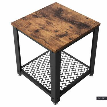 MALEK Table de café marron look usé 40x40 cm
