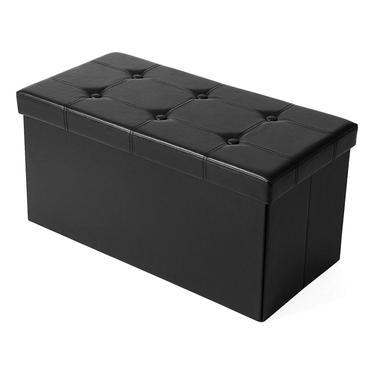 ALI Coffre tapissé noir avec assise piquée 76x38 cm