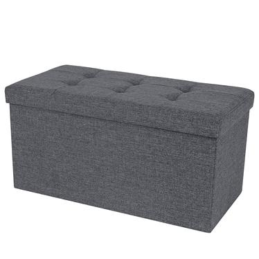 ALI Coffre tapissé graphite avec assise piquée 76x38 cm