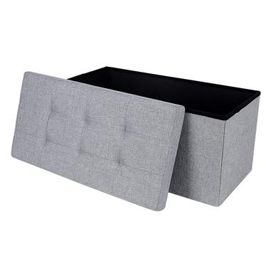 ALI Coffre tapissé gris avec assise piquée 76x38 cm