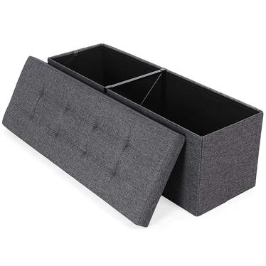 ALI Coffre tapissé graphite avec assise piquée 110x38 cm