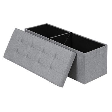 ALI Coffre tapissé gris avec assise piquée 110x38 cm