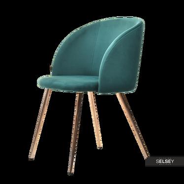 GARY Chaise vintage en velours vert / cuivre