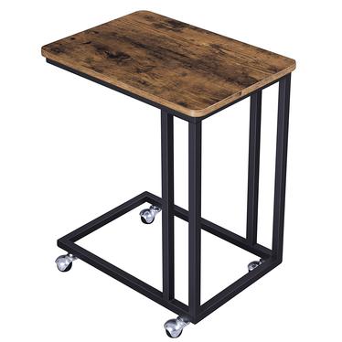 MALEK Table de chevet à roulettes marron look usé