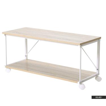MALEK Table basse blanche et effet chêne 100x40 cm à roulettes