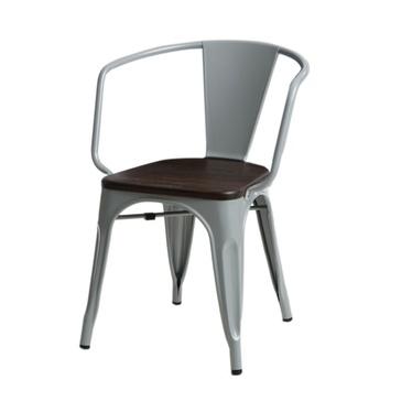 PARIS ARMS WOOD Chaise en métal gris / pin brossé