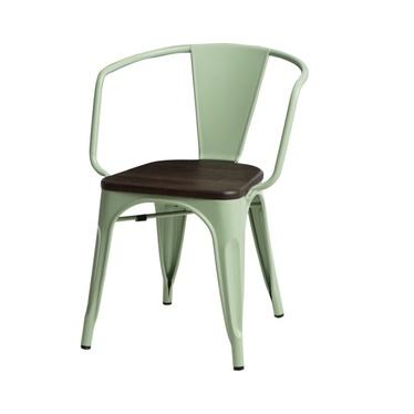 PARIS ARMS WOOD Chaise en métal vert / pin brossé
