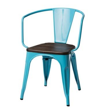 PARIS ARMS WOOD Chaise en métal bleu / pin brossé