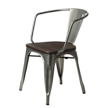 PARIS ARMS WOOD Chaise métallique / pin brossé