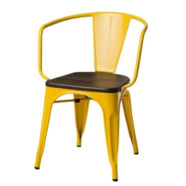 PARIS ARMS WOOD Chaise en métal jaune / pin brossé