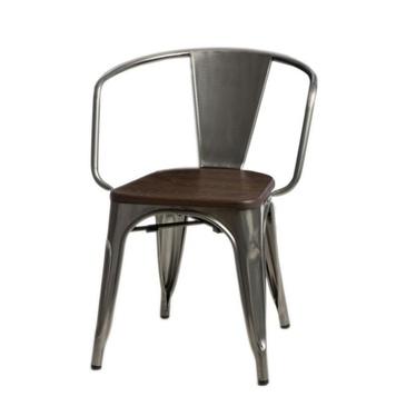 PARIS ARMS WOOD Chaise métallique / noyer