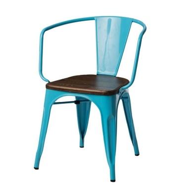 PARIS ARMS WOOD Chaise en métal bleu / noyer