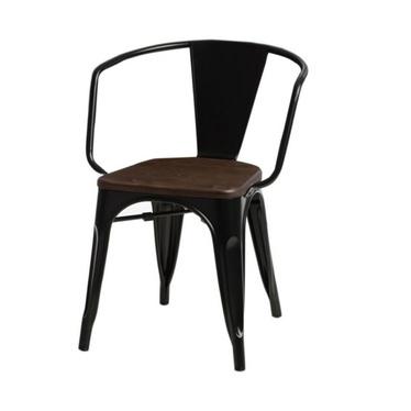 PARIS ARMS WOOD Chaise en métal noir / noyer