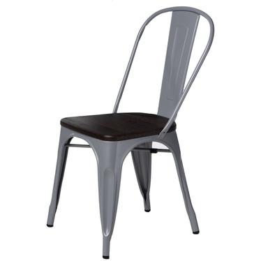 PARIS WOOD Chaise en métal gris / pin brossé