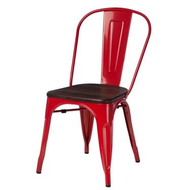 PARIS ARMS WOOD Chaise en métal rouge / pin brossé