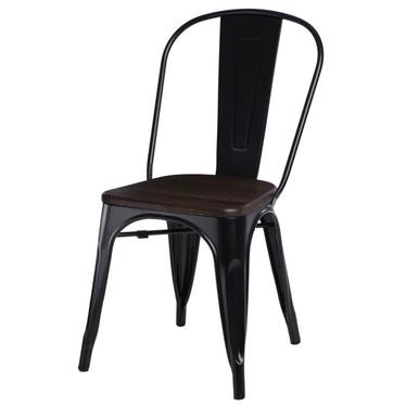 PARIS ARMS WOOD Chaise en métal noir / pin brossé