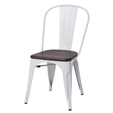 PARIS ARMS WOOD Chaise en métal blanc / pin brossé
