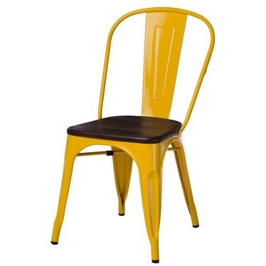 PARIS WOOD Chaise en métal jaune / pin brossé