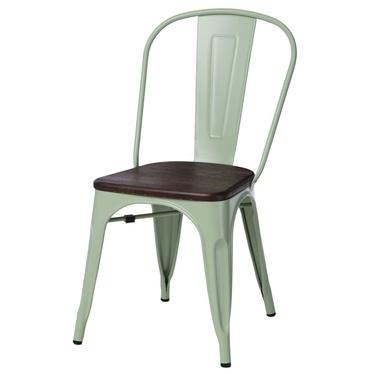 PARIS WOOD Chaise en métal vert / pin brossé