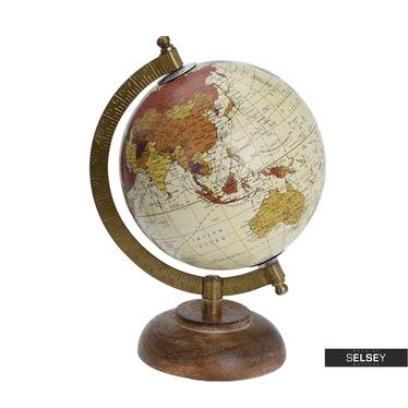Globe terrestre crème diamètre 13 cm sur pied en bois