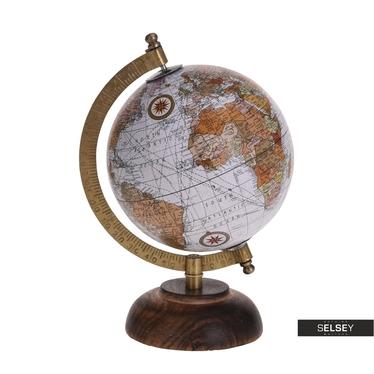 Globe terrestre gris diamètre 13 cm sur pied en bois