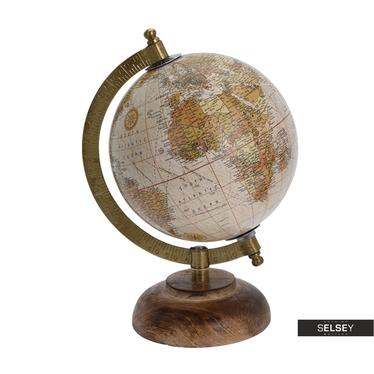 Globe terrestre poudré diamètre 13 cm sur pied en bois