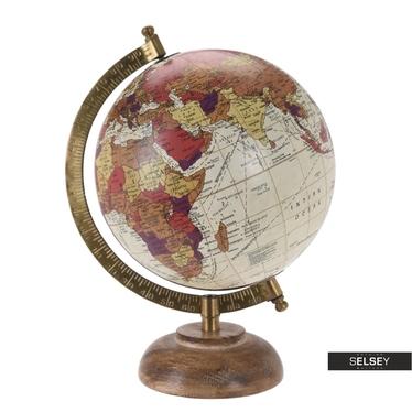 Globe terrestre crème diamètre 16 cm sur pied en bois