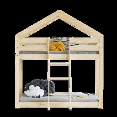 DALIDA Lit superposé maisonnette avec échelle à l'avant