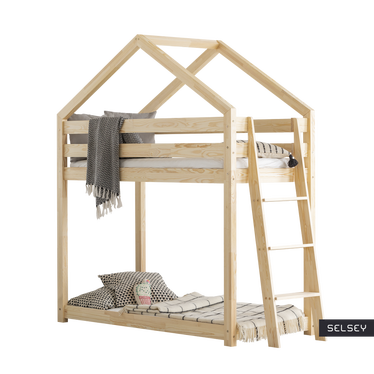 DALIDA Lit superposé maisonnette avec échelle d'un côté