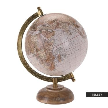 Globe terrestre poudré diamètre 16 cm sur pied en bois