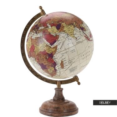 Globe terrestre crème diamètre 20 cm sur pied en bois