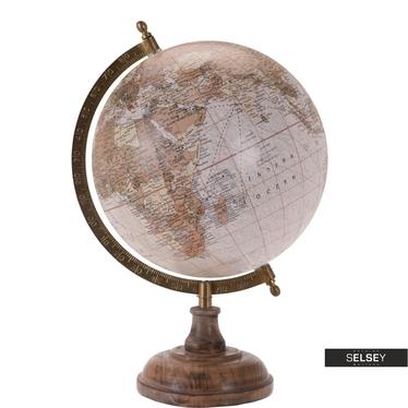 Globe terrestre poudré diamètre 20 cm sur pied en bois