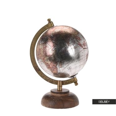 Globe terrestre argent diamètre 13 cm sur pied en bois