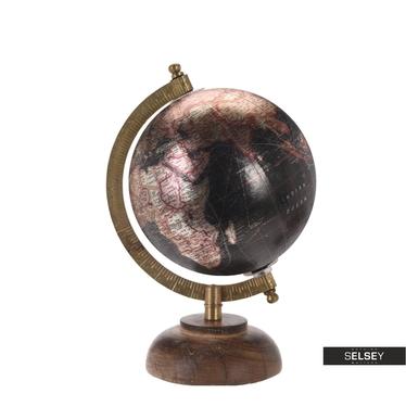Globe terrestre noir métallique diamètre 13 cm sur pied en bois