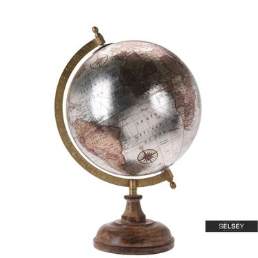Globe terrestre argent diamètre 20 cm sur pied en bois