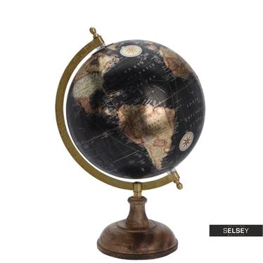 Globe terrestre noir métallique diamètre 20 cm sur pied en bois