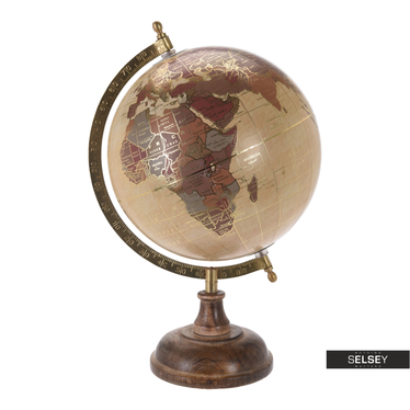 Globe terrestre crème avec éléments dorés diamètre 20 cm sur pied en bois