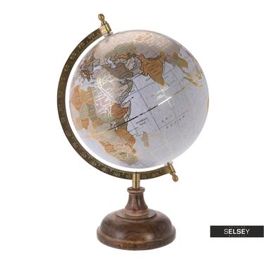 Globe terrestre gris avec éléments dorés diamètre 20 cm sur pied en bois