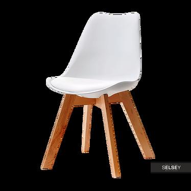 LUIS BOIS Chaise scandinave blanche pieds hêtre