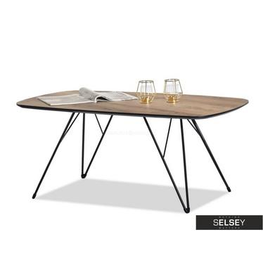 RUBIS Table basse noire et en noyer 110x60 cm