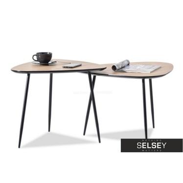 ROSIN Lot de 2 tables basses triangulaires chêne / noir